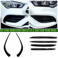 front fog lights eyelid stripes bumper grille air knife modification cover trim for mercedes benz cla 200 c118 w118 2020 2021