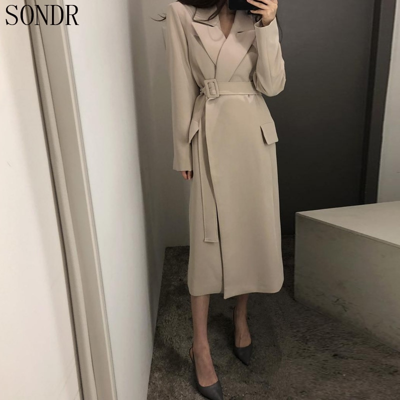 New 2020 Spring Autumn Long Trench Coat For Women Long Sleeve Winter Loose Lapel Outerwear Elegant C