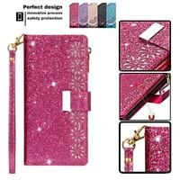 luxury bling glitter case for xiaomi 11 poco x3 nfc 10t lite redmi k30 8 9 9a 9c note 8 9 10 pro 10s zipper multi function cover