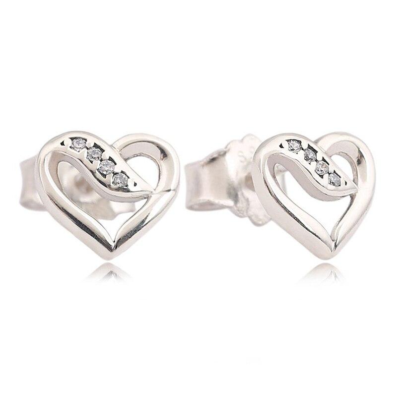 Auténtica Plata de Ley 925 pendientes lazos de amor con pendientes de tuerca de cristal para mujeres regalo de boda joyería fina Diy