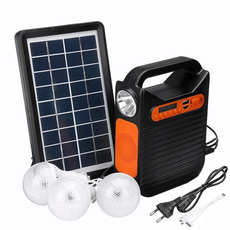 25 واط تعمل بالطاقة الشمسية نظام الطوارئ تيار مستمر نظام ضوء عدة مولد للطاقة الشمسية راديو FM الصوت USB بطاقة توليد الطاقة مع لوحة طاقة شمسية