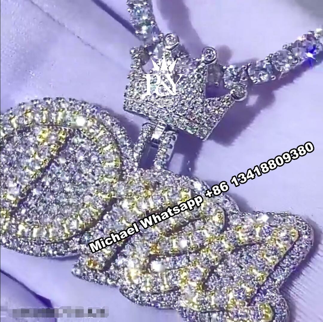 P&Y Custom Initial Name Pendant Customized Full Iced Out S925 Vvs D Moissanite Diamond Letter Necklace Chain