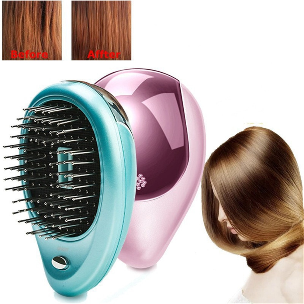 2017 hot sale straight hair comb professional artifacts 3 color 2 plugs electric straight hair fashion beauty styling tools use New Electric Ionic Hairbrush Portable Mini Small Hair Magic Beauty Brush Negative Ions Hair Comb Hot Sale Hair Styling Tools