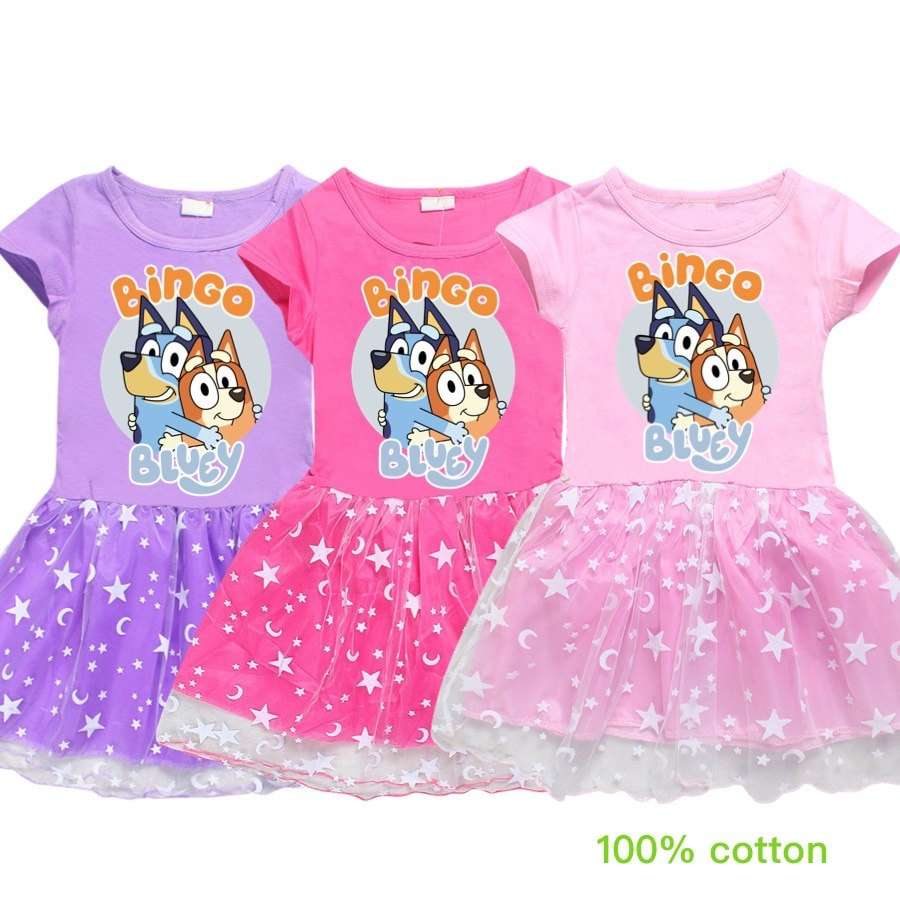 Детские платья для девочек, Bingo Bluey, летняя одежда для маленьких девочек хлопковая трапециевидная одежда до колена для девочек