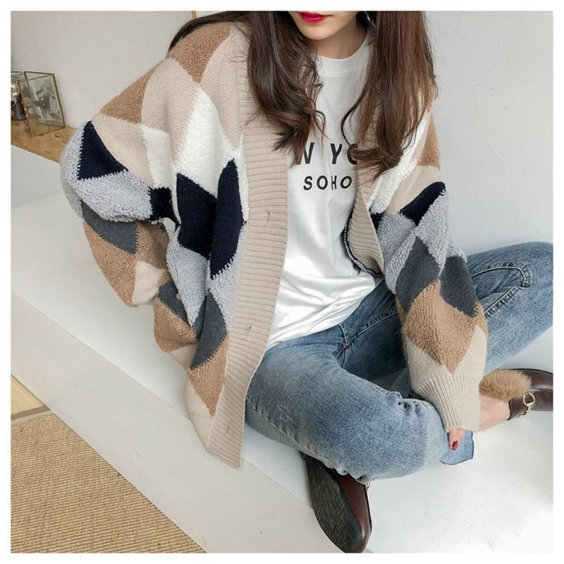 Cardigan sweater 2021 spring and autumn new ins popular retro French loose knitted cardigan length net red sweater coat b012 enlarge