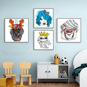 Nordic Cartoon Funny Dog Animals Canvas Painting Wall Art Modern Posters And Prints Pictures For Children's Room Home Decor