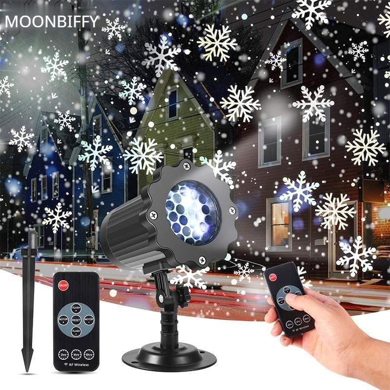 outdoor waterproof led stage light garden tree moving laser projector christmas party home decoration effect lamp Moving Snowfall Laser Projector Light Waterproof Christmas New Year LED Stage Lights Snowflake Xmas Party Garden Landscape Lamp