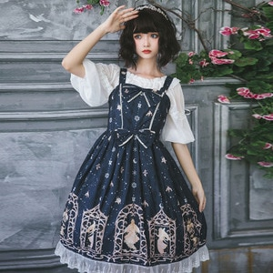 JSK Gothic Lolita Dress Vintage Bowknot Lace Cute Girl Vintage Princess Maid Cosplay Boat-neck Chiffon Shirt Petticoat Bubble