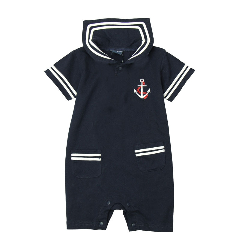 New Fashion Summer Newborn Navy Style Baby Romper Kids Boys Girls Jumpsuit Body Short-sleeve Sailor Suit