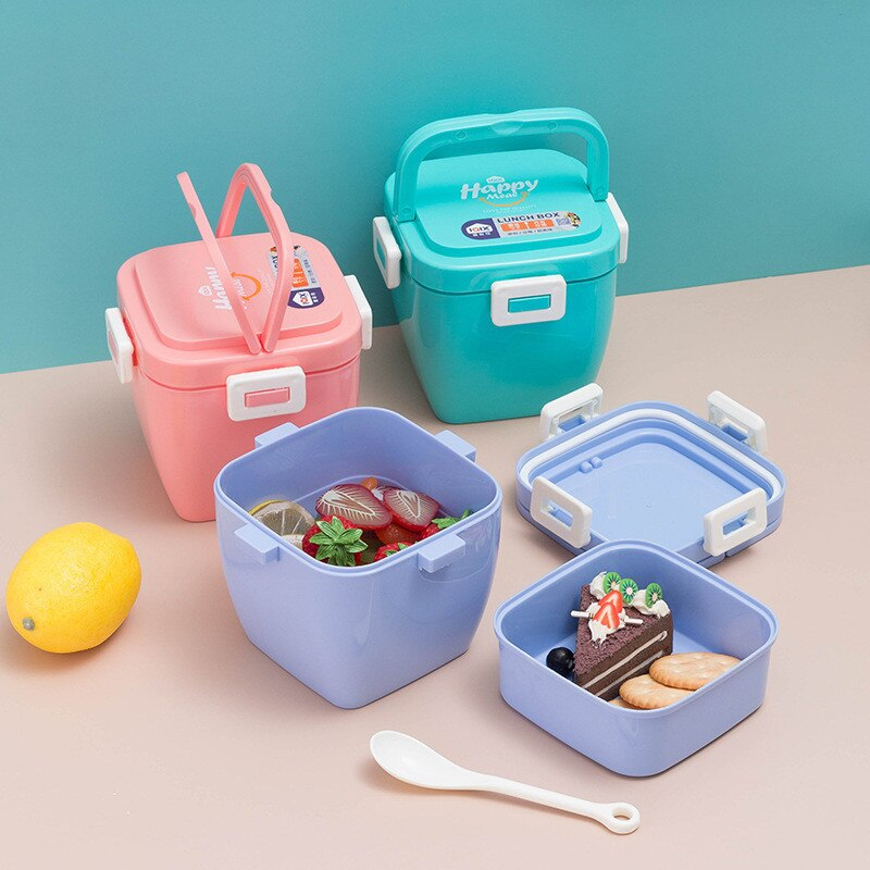 Double-layer Portable Lunch Box Microwave Heating Weight Loss And Fat Reduction Meal Bento Case Picnic Fruit Storage Container