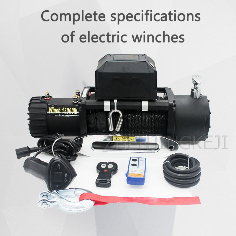 Electric Winch 13000 Pounds With Nylon Rope 12V/24V Car Winch Off-road Vehicle Tools Mud Marsh Anchored Rescue Beach Stranded