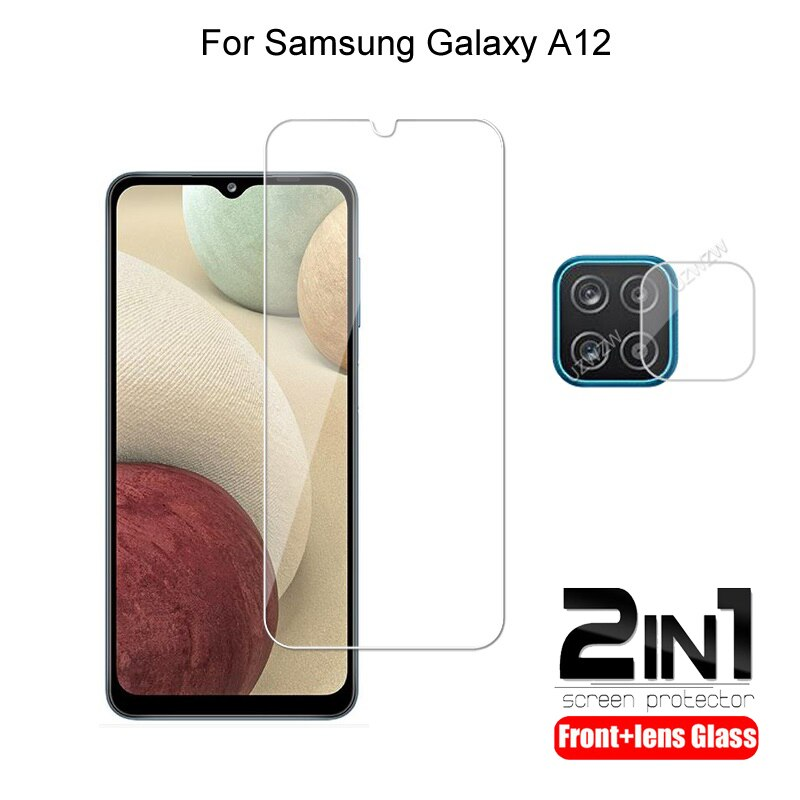 2 in 1 For Samsung Galaxy A12 Camera Lens Film & Screen Protector Guard Protective HD Tempered Glass