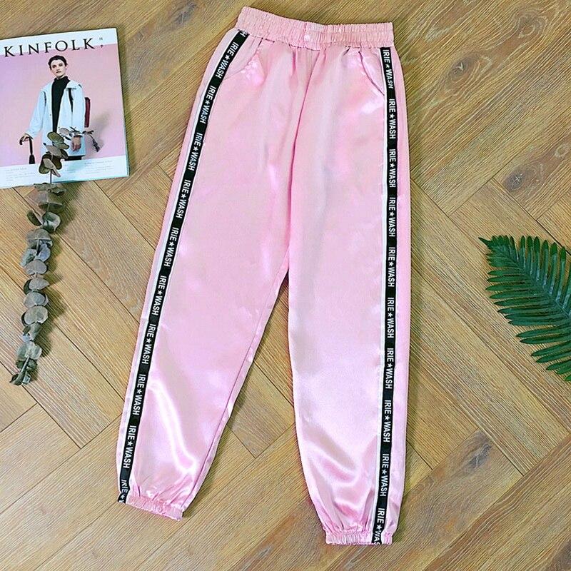 2019, Pantalones para Mujer, Pantalones, Pantalones de verano para Mujer, Pantalones deportivos brillantes, Pantalones de cinta, Pantalones holgados de raso a la moda de Harajuku