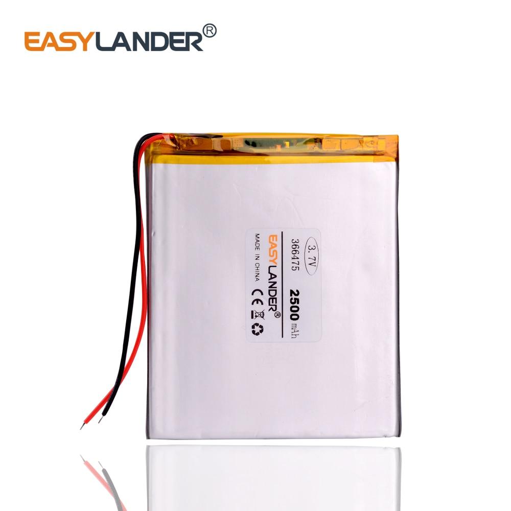 Batería de iones de litio/Li-ion de polímero de 3,7 V,2500mAH 366475 para tableta pc,GPS e-book