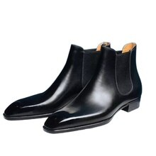 Men's Boots New Fashion  Leather Slip-on Chelsea Boot Male Casual Business British Style Dress Shoes