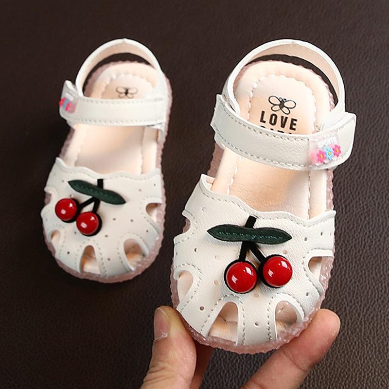 Летние детские сандалии для девочек с вишневым закрытым носком, детские сандалии принцессы для малышей, обувь для маленьких девочек, Размер 15 30 Сандалии    АлиЭкспресс