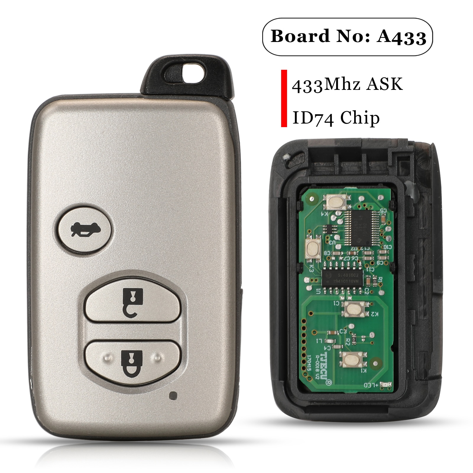 Jingyuqin 3 Buttons Smart Remote Car Key Fob 433MHz ASK A433 Board For Toyota Camry Replacement