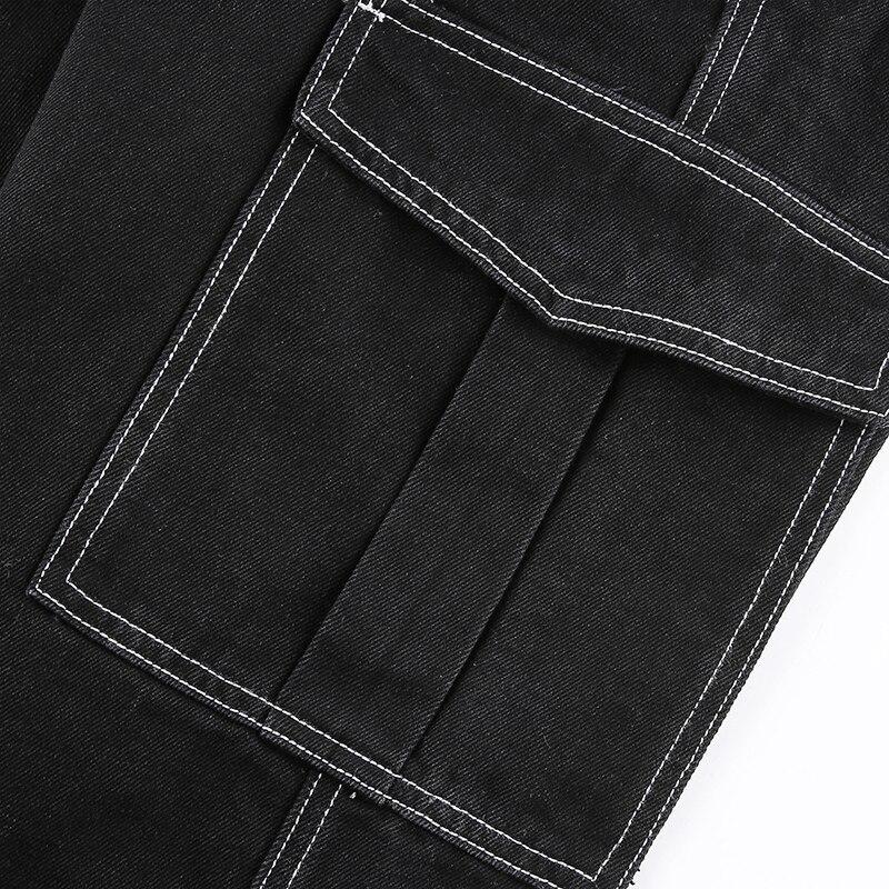 Patchwork Jeans Woman Cargo Pants 2021 High Waist Baggy Pants Y2k Wide Leg Straight Pants Pockets Punk Streetwear