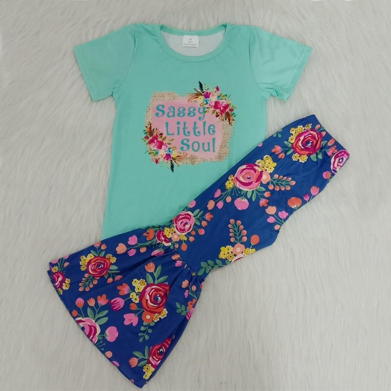 Bebê menina verão outfit 2 peças conjunto de roupas da menina do bebê target tshirt + bell bottom calças da criança boutique crianças roupas da menina