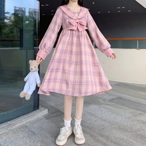 JK Sailor Dress Women's Autumn Japanese Sailor Collar Bow Stitching Long Sleeve Plaid Dress kawaii clothing sweet lolita dress