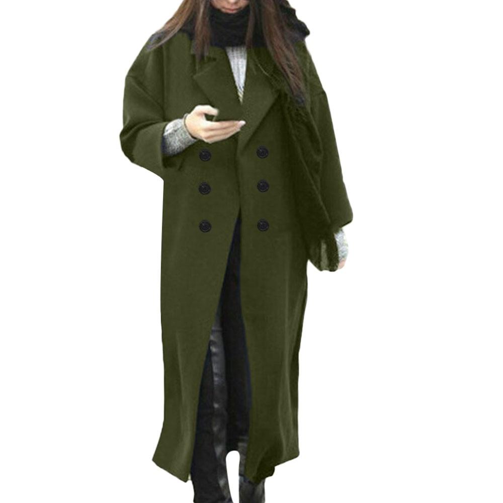 2019 abrigo Mujer Lana de talla grande Invierno Vintage Casual sólido solapa...