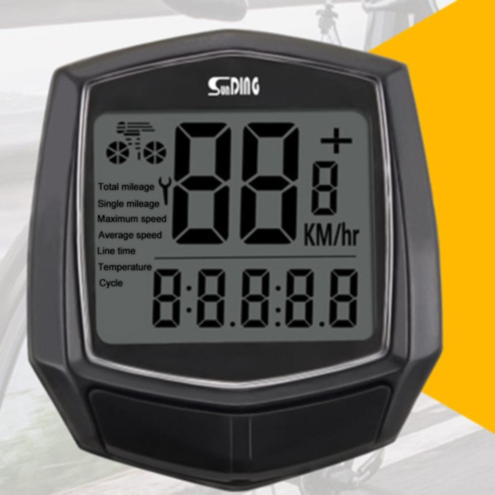Odómetro resistente al agua negro, reloj para bicicleta, velocímetro, Sensor de cable, cronómetro de ordenador para ciclismo, termómetro multifunción