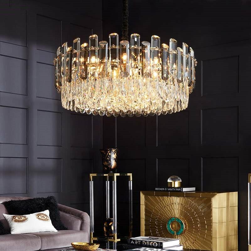 مصباح معلق Led فاخر حديث لغرفة المعيشة ، مصباح معلق Led بلون رمادي فاتح ، تصميم معدني ذهبي ، لمبة K9 Led
