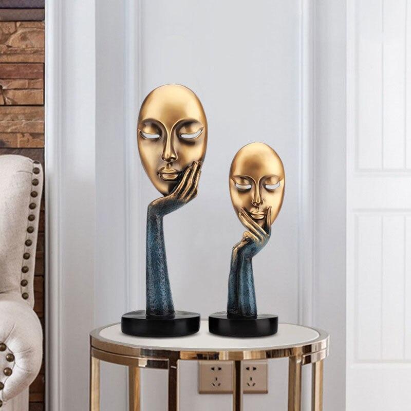 Decoración moderna para el hogar, accesorios para el hogar, máscara pensadora, figuritas en miniatura para sala de estar, oficina, pasillo