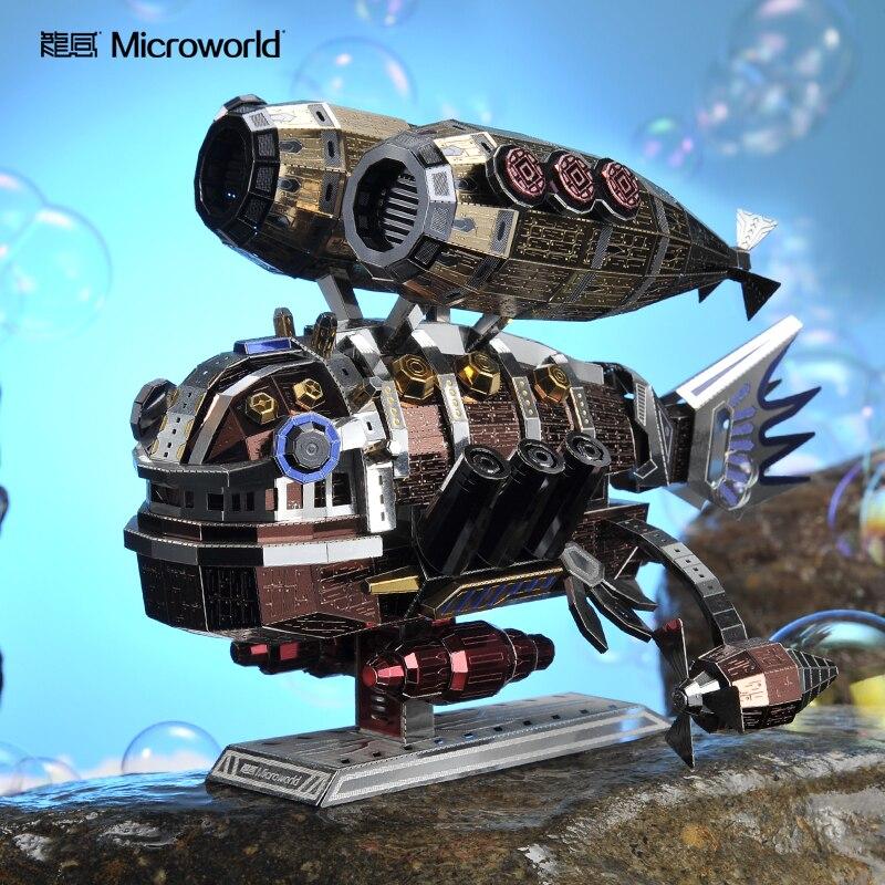 Micromundo 3D rompecabezas ballena modelo Base kits DIY corte láser montar rompecabezas juguetes para los niños