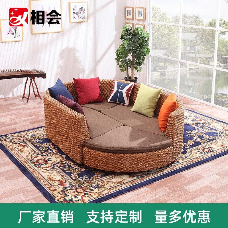 كرسي صوفا من الخيزران كرسي خمس قطع الأثاث الإبداعي ثلاثة شقة صغيرة مزيج أريكة سرير غرفة المعيشة مزيج أريكة استرخاء
