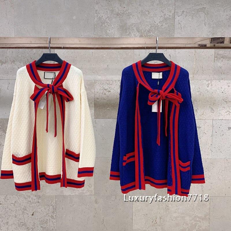 Luxury designer 2021 fashion cardigan woman Pocket design sweaters Cardigan clothing Neckline bow long sleeve sweater cardigans enlarge