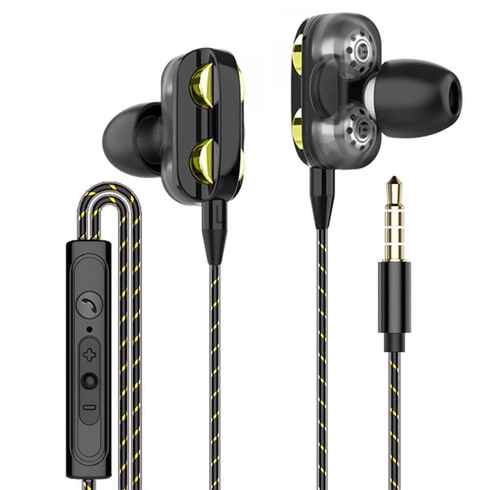 Auriculares con cable estéreo de doble unidad, auriculares con bajos para juegos deportivos de 3,5mm con micrófono