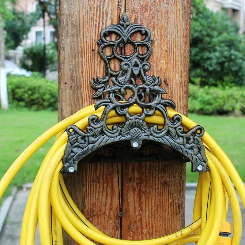 Support de tuyau d'eau en fonte d'aluminium, crochet de rangement mural en métal, Vintage, ajouré, décoration de jardin de maison européenne