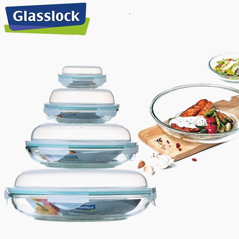Caja contenedora para comida redonda de vidrio con tapa, almacenamiento hermético, vajilla para almuerzo o cocina, vajilla, utensilios para microondas disponibles