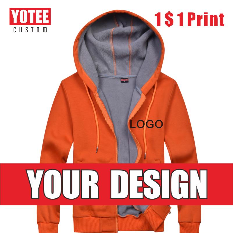 Толстовка YOTEE на молнии с логотипом модного бренда, утепленная мужская Толстовка на заказ, однотонная толстовка с капюшоном, новинка сезона ...