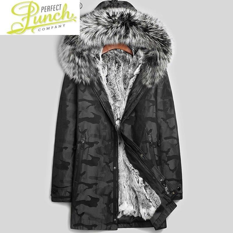 سترة الرجال 100% ريكس الأرنب الفراء ملابس للرجال معطف الشتاء ريال الفضة الثعلب الفراء طوق الملابس Erkekler Parkas LXR372