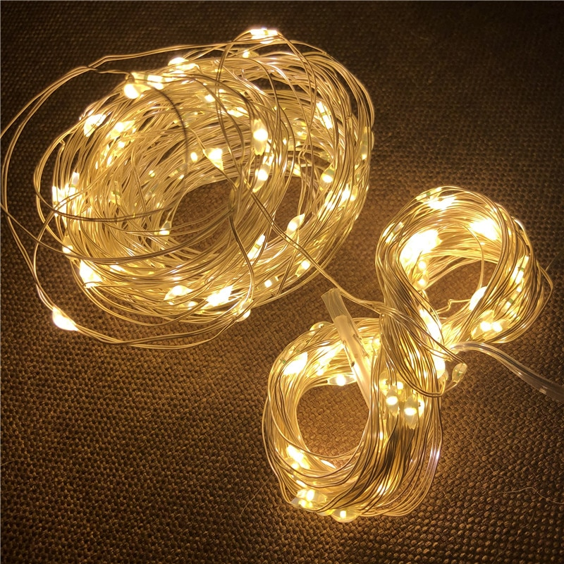 10m 5m led string lights silver wire fairy warm white garland home christmas wedding holiday party decoration powered by battery LED String Light Silver Wire Fairy Warm Garland Home Christmas Wedding Party Decoration Battery Powered Garland Christmas Lights