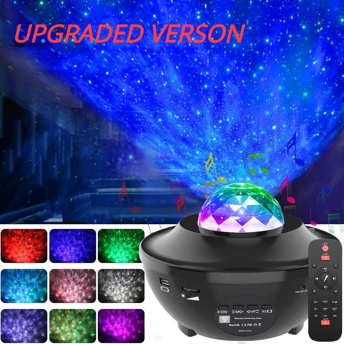 Цветной проектор звездного неба, ночсветильник, проектор океанской волны, Звездный проектор, атмосферная лампа с Bluetooth, музыкальный динамик...