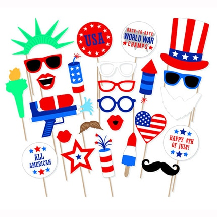 25pcs USA Independence Day July 4th Party Decorations DIY American Photobooth Props Carnival Party Supplies independence day firecracker birthday backdrop 4th of july first birthday party photo background cake table decorations supplies
