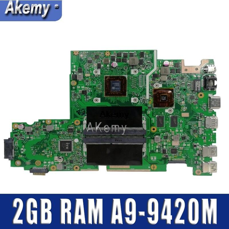 X542BP материнская плата для ноутбука For Asus X542B X542BP A580B K580B материнская плата 100% тест 2 Гб RAM A9-9420M CPU 3,0 GHZ