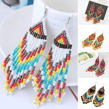 Bohème à la main perlé Long gland boucles doreilles pour femmes bijoux multicolore perles déclaration boucles doreilles ethnique Drop Party vacances