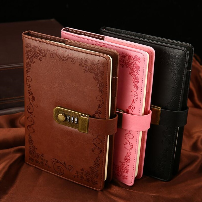 Diary With Lock Notebook A5 Vintage Lockable Paper PU Leather Note Book Traveler Journal Weekly Planner School Stationery Gift secret notebook ruled journal lined diary with lock creative gift heart lock