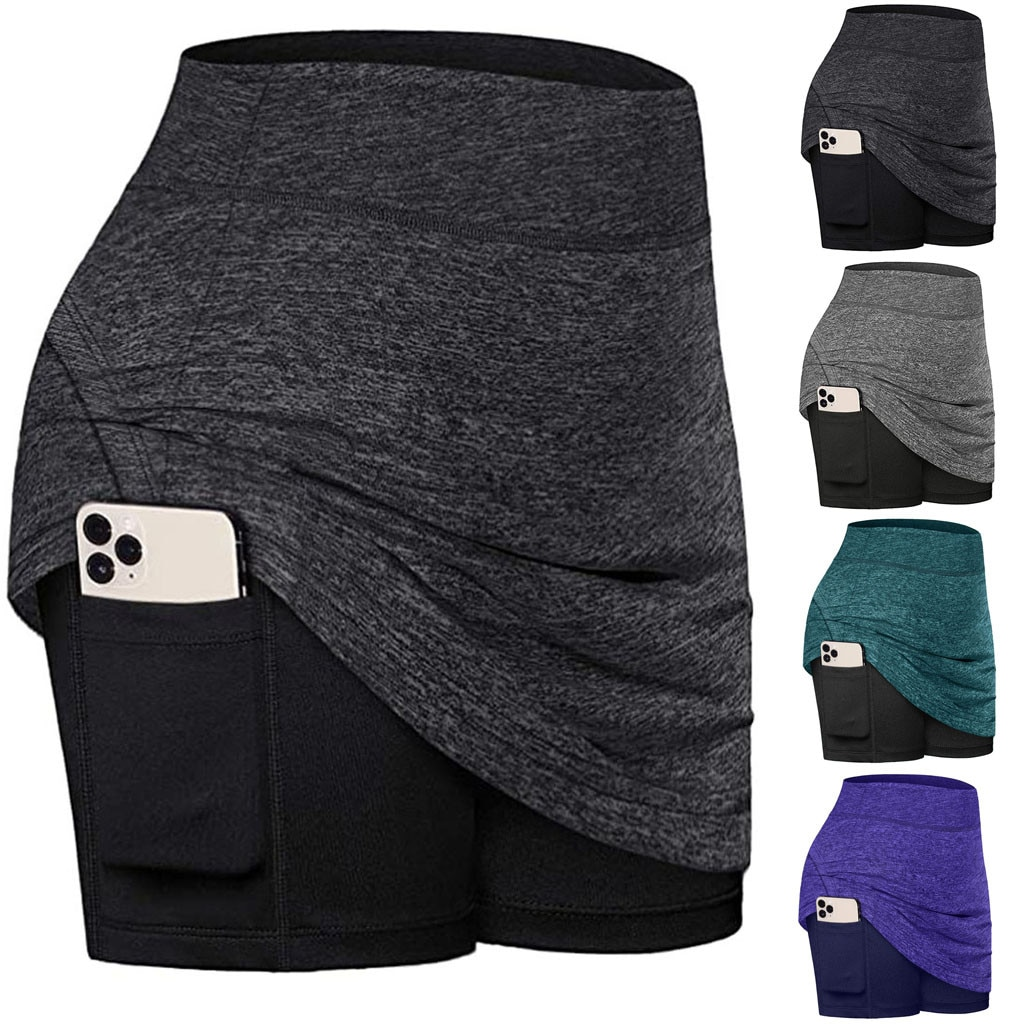 Esportes runing shorts shorts para saias de tênis feminino correr interior shorts elásticos esportes bolsos golfe skorts 2020 novo dropship