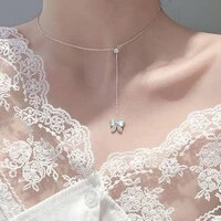exquisite butterfly pendant necklace with shell stone s925 silvery luxury adjustable chain for women wedding party accessories