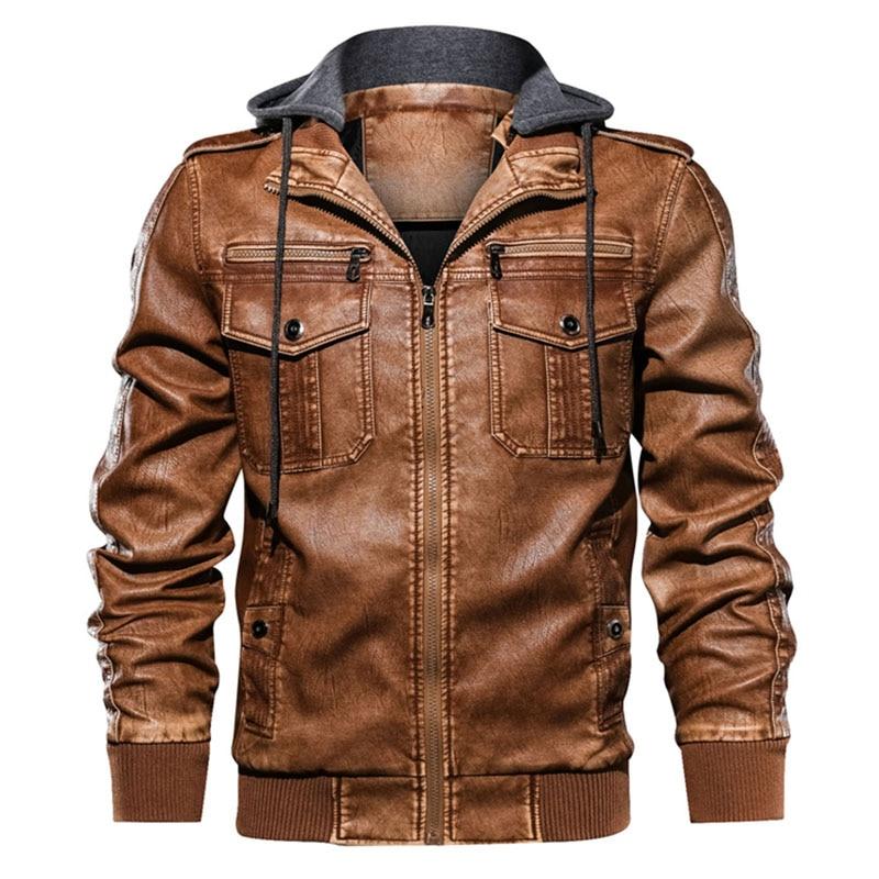 Мужская зимняя кожаная куртка, модная мужская флисовая утепленная Повседневная осенне-зимняя толстовка из искусственной кожи, Мужская мод...