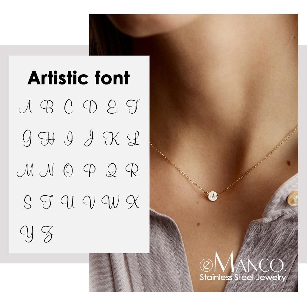 EManco graver 26 collier de tour de cou Alphabet artistique femmes réel collier en acier inoxydable 316L cadeaux pour les femmes