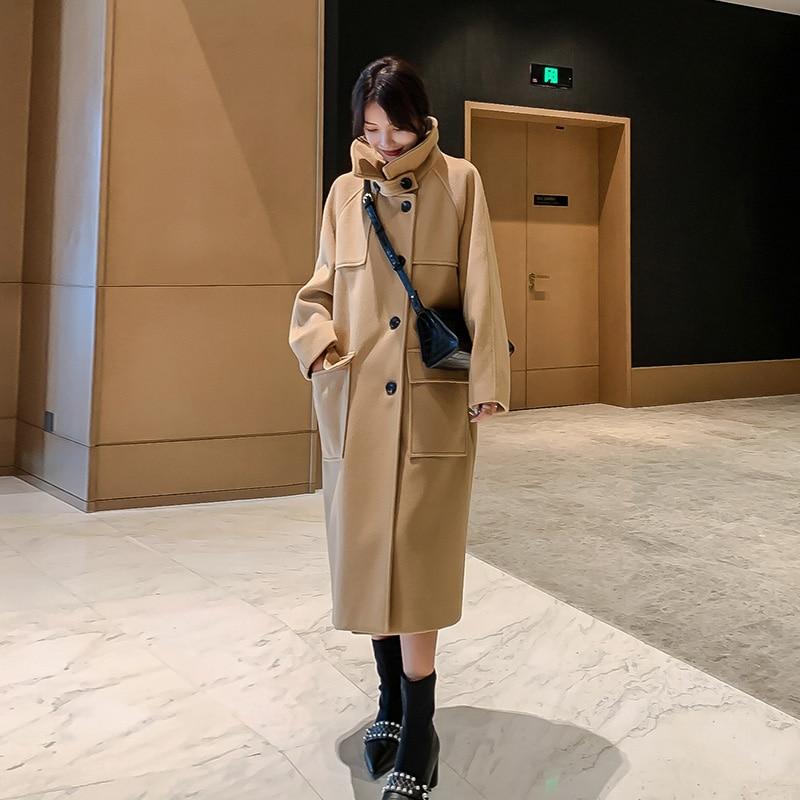 Wool Coat Women Long Sleeve Collar Outwear Long Jacket Korean Casual  Winter Elegant new Overcoat Women Woolen Coat