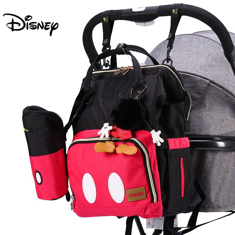 Bolsa de pañales Disney, mochila para bebé, bolsa mojada para mamá, moderna momia, organizador de pañales de maternidad, bolsa de viaje USB, cochecito colgante