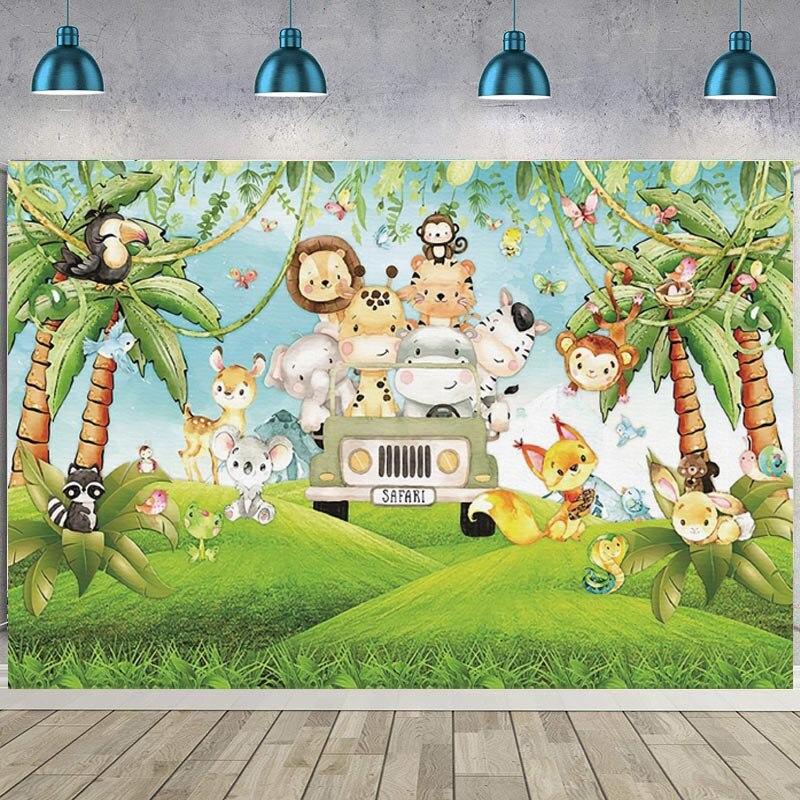 Джунгли сафари фон дикий один ребенок душ Дети День Рождения Вечеринка леса животные фото фон баннер декоративные принадлежности