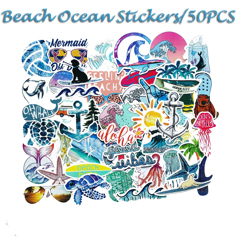 50 Uds verano calcomanías de playa surfeando mar tortuga etiqueta VSCO para portátil nevera teléfono Skateboard maleta chica frasco de la etiqueta engomada